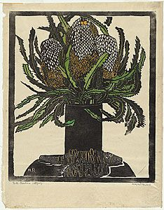 Margaret Preston 'West Australian banksia' c.1929 woodblock print National Gallery of Australia © Margaret Preston. Licensed by VISCOPY, Aus...