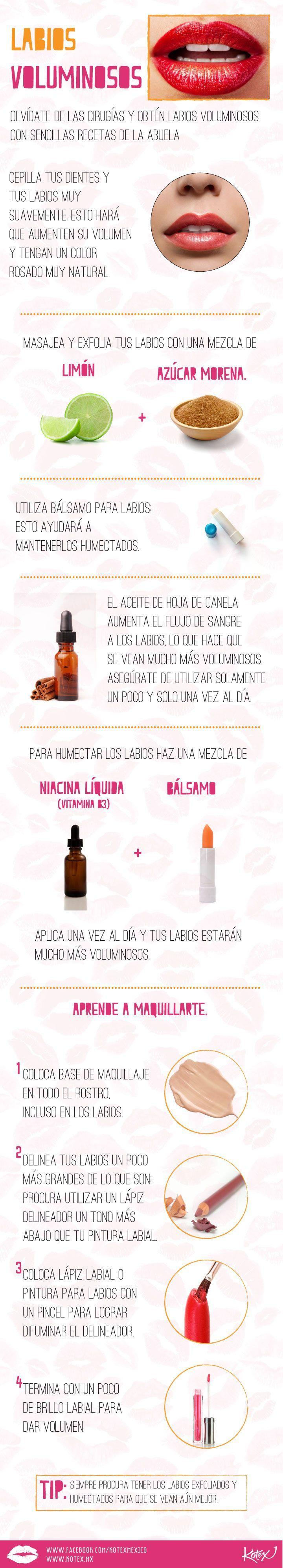 Como obtener unos labios voluminosos sin cirugía. #labios #infografía #remedios