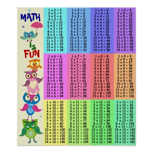 Rainbow owls multiplication table fun posters