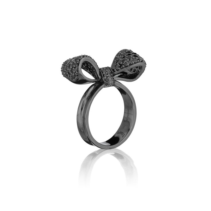 LOVE. Bow Black Diamond Ring (Small) 18kt Oxidized White Gold