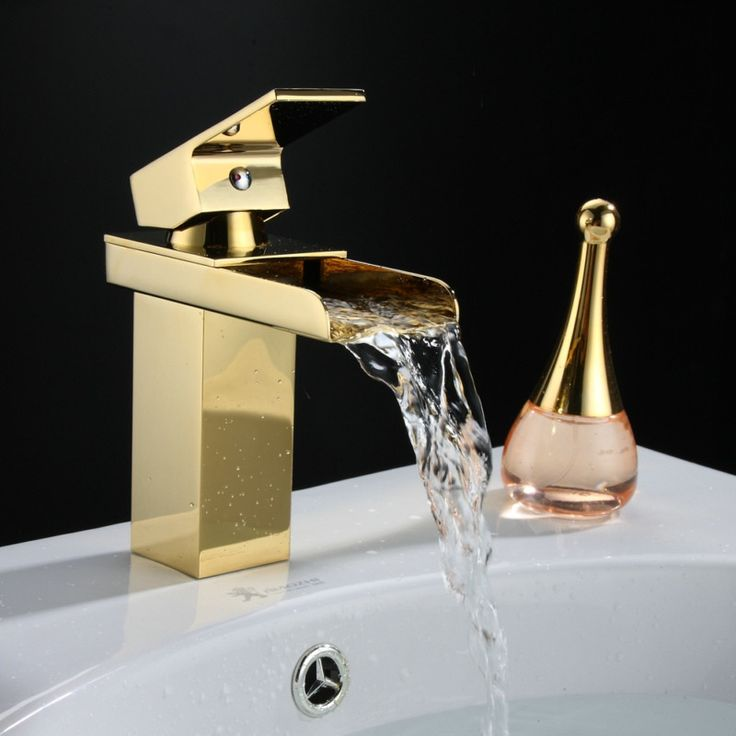 Free shipping becola deck mounted gold plated basin faucet single handle bathroom tap waterfall faucet LT-501A