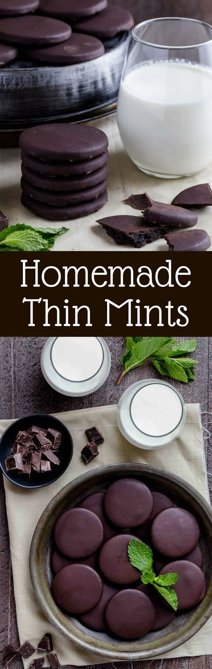 Homemade Thin Mints are just like the real thing! Crisp mint chocolate cookies coated in chocolate. They taste amazing! via @introvertbaker