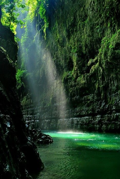 Nature: Lights, Natural Pictures, Beautiful Places, West Java, Indonesia, Mermaids Lagoon, Green Rivers, Photo, Green Canyon