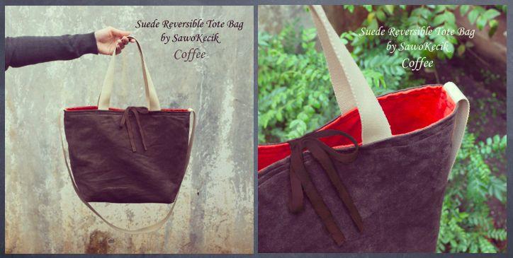 "Suede Reversible Tote Bag ""Coffee"""