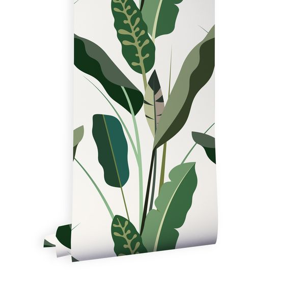 COPACABANA  is a composition of illustrated banana and tropical leaves, beautifully printed onto high quality non-woven wallpaper.  It's great for bringing a tropical touch to any room in your house or shop.  HOW IT'S MADE Copacabana is digitally printed on high quality non-woven wallpaper. Weight 180 gsm, odorless and flame resistant.  Measurements  Roll Size: 10.05m x 52cm Repeat: 78cm