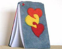 Bağlı Kalpler Yün Keçe, Keçeli Spiral Not Defteri.  makeforgood