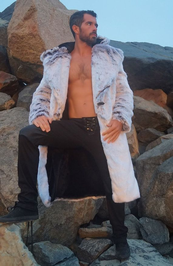 Men's Vandal Faux Fur coat with zip off hood by FurrociousFashion