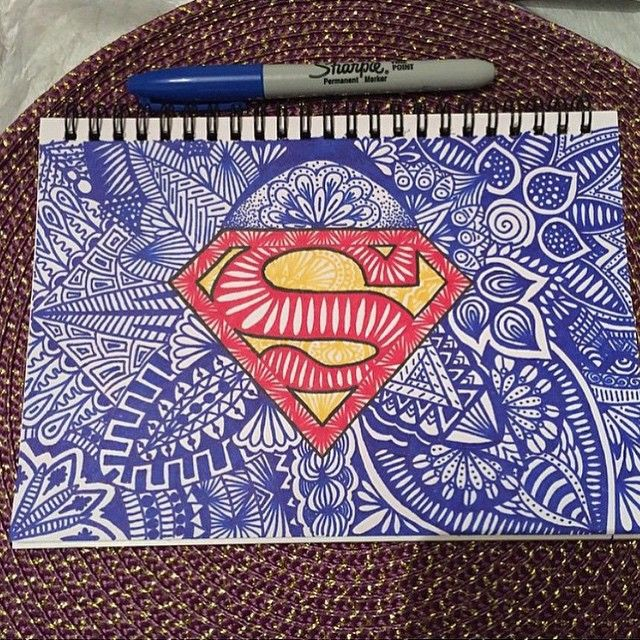 Superman zentangle