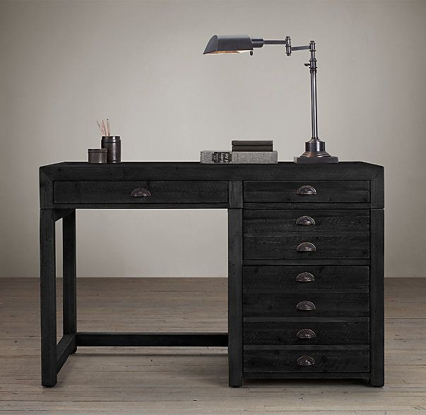"""RH's Printmaker's 48"""" Desk :A fixture in architectural firms and artists' studios, flat file cabinets are used to store plans, prints and maps in their wide, shallow drawers. We've reconfigured the design for use in the home."""