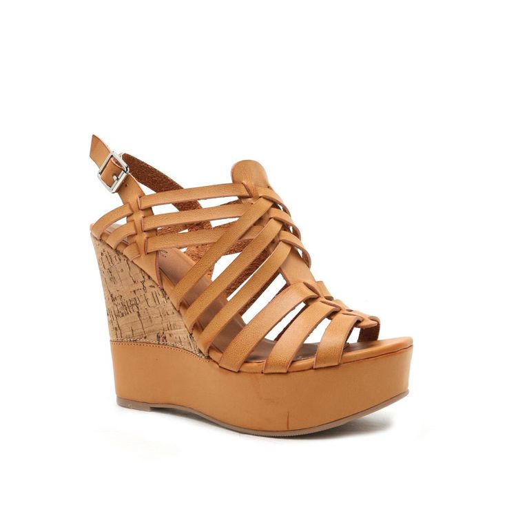 Peep Toe Wedge Sandals - Camel