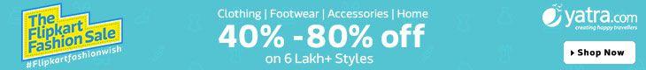 Flipkart Fashion Sale upto 80% Off - http://www.grabbestoffers.com/coupon/flipkart-fashion-sale-upto-80-off/