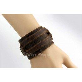 BAMOER Leather Cuff Double Wide Bracelet