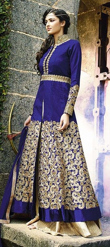 Trendy Sharara Salwar Kameez  by IWS 434064 Blue  color family Party Wear Salwar Kameez in Crepe,Silk fabric with Lace,Resham,Stone work .