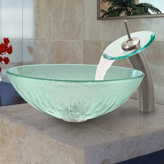 VIGO Icicles Glass Vessel Sink and Brushed Nickel Waterfall Faucet Set | Overstock.com Shopping - Great Deals on Vigo Bathroom Faucets