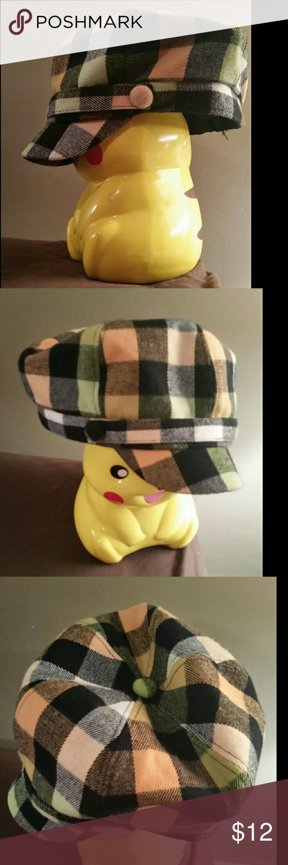 Plaid Hat Women's Cab Style Hat Black white peach and green colored There's elastic around the inside of the hat for a comfortable fit :) Looks new, no signs of wear or stains d&y Accessories Hats