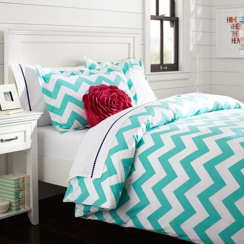 http://www.2uidea.com/category/Xl-Twin-Comforter/ PB Teen - Chevron Duvet Cover + Sham, Pool