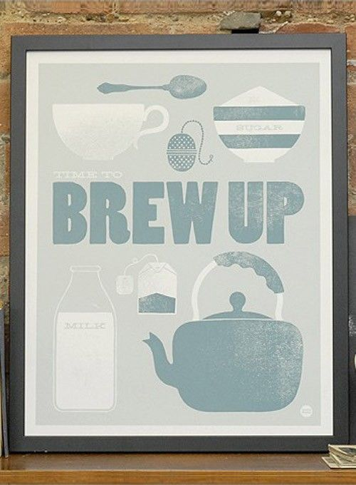 Time to brew up has been illustrated beautifully by Laura Seaby. A really sweet print for any tea-loving household. | huntingforgeorge.com