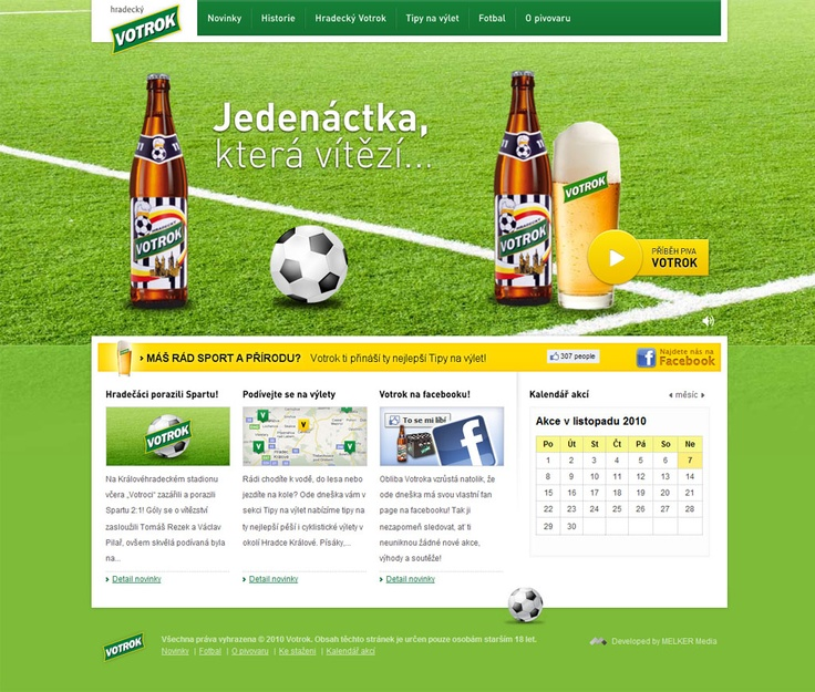 Website of beer brand - flash animation for homepage, design of sub-pages