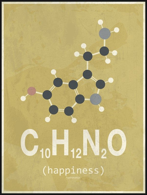 Yellow Happiness Molecule poster