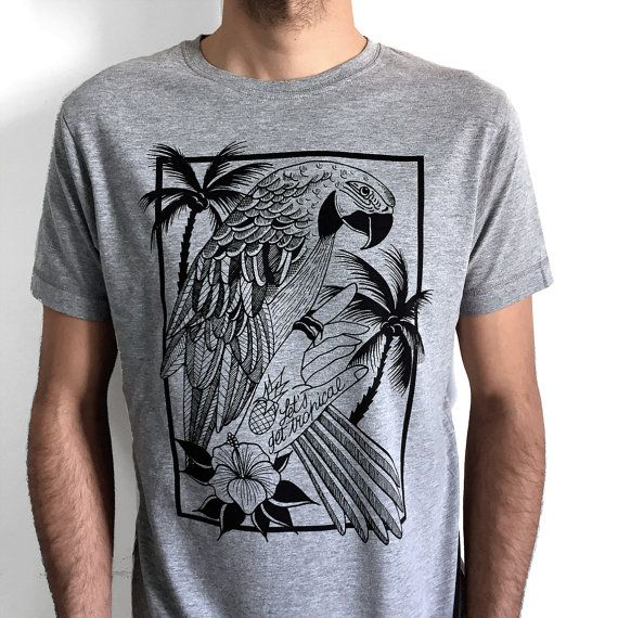 Parrot T-Shirt for men parrot printed shirt by hardtimesdesign