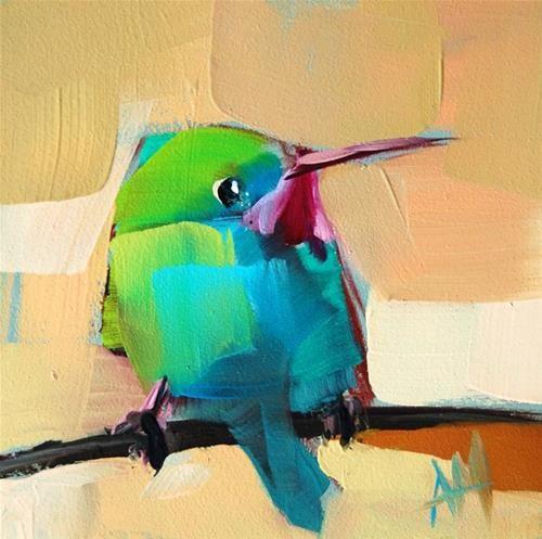 """Tody Bird no. 17 Painting"" - Original Fine Art for Sale - © Angela Moulton"