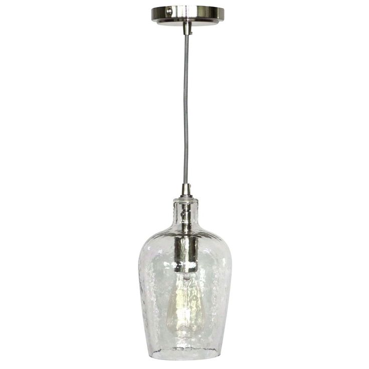 brushed nickel mini pendant light with clear glass shade at