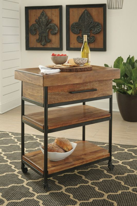 Glosco Warm Brown Finish Solid Mango Wood Tea Serving Cart With Casters Measures 28 X 18 32 5 H Some Embly Required