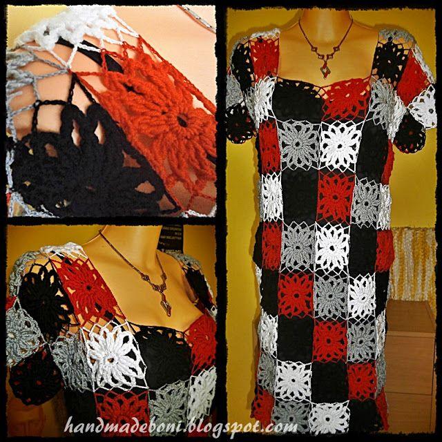 HandmadeBoni: Sukienka z szydełkowych motywów. Zrób razem ze mną...