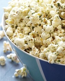 Hidden Valley Ranch Popcorn ~ Ingredients needed: 4 tablespoons unsalted butter, 1 (1 ounce) packet Hidden Valley® Original Ranch® Salad Dressing & Seasoning Mix, 1 (3 ounce) bag reduced-fat, butter-flavored microwave popcorn, 1/4 cup grated Parmesan cheese.