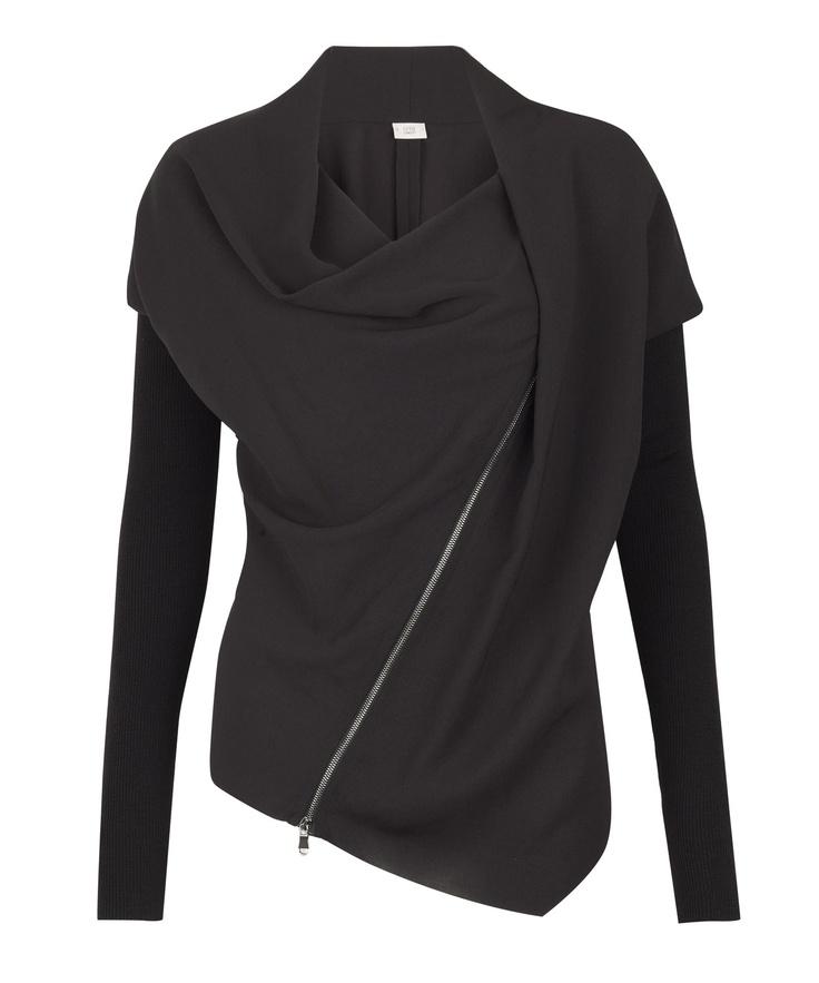 Liberty London - Black Asymmetrical Draped Jacket, Crea Concept