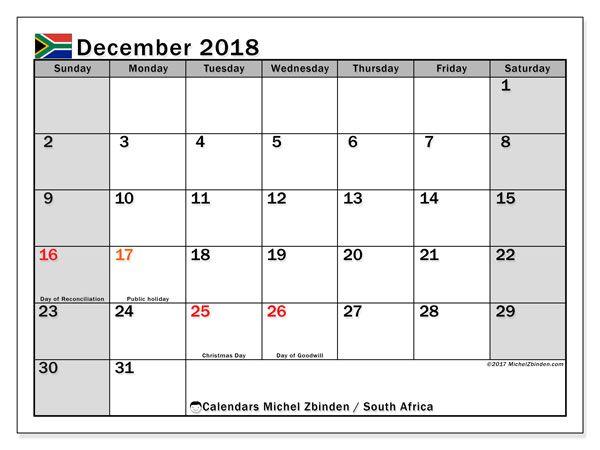 December Calendar 2018 South Africa Holiday Calendar Printable