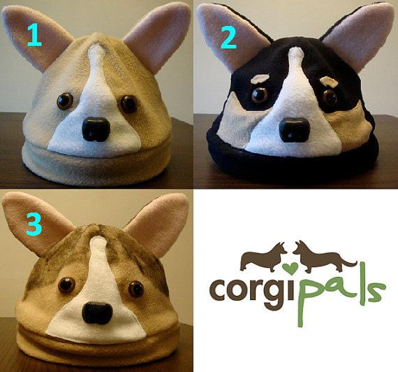ADULT Fleece Welsh Corgi Hats  by CorgiPals on Etsy ... in kids' sizes too!  http://www.etsy.com/listing/87202958/adult-fleece-welsh-corgi-hats-corgipals #corgi