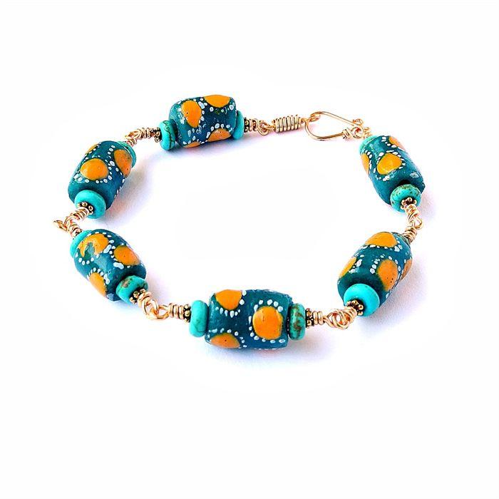 African Krobo Bead Bracelet by Escape Jewellery