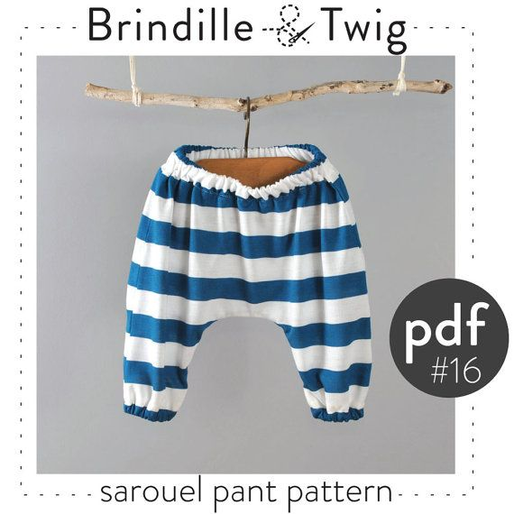 Baby sarouel pants pattern pdf and tutorial, sizes 0-3T  -Pattern 16 on Etsy, $7.50
