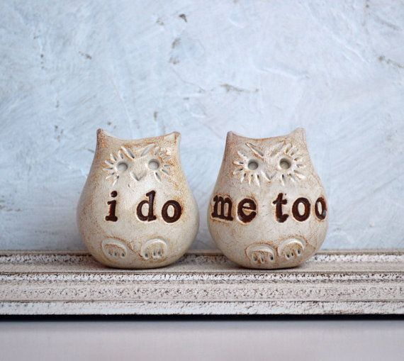 Wedding cake topperLove bird owls i do me too by SkyeArt on Etsy, $42.00