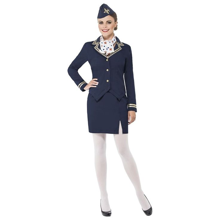 Flight Attendant Costume Adult Womens Halloween Fancy Dress | eBay