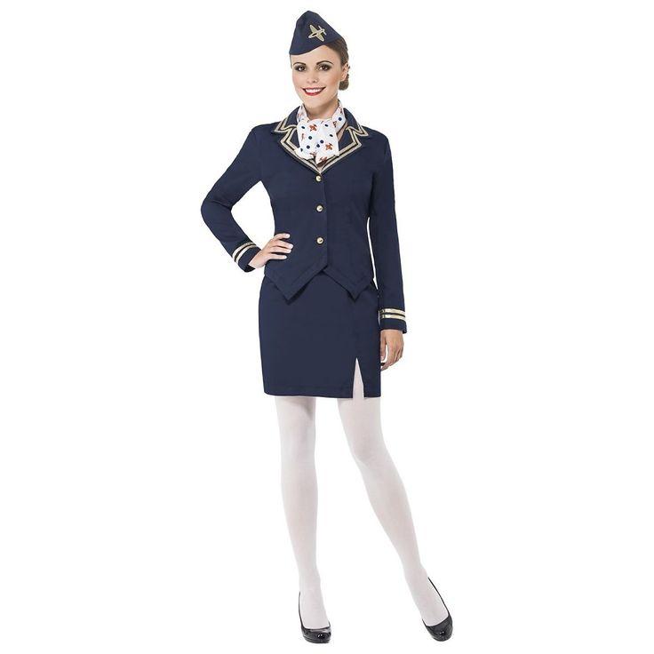 Flight Attendant Costume Adult Womens Halloween Fancy Dress | eBay