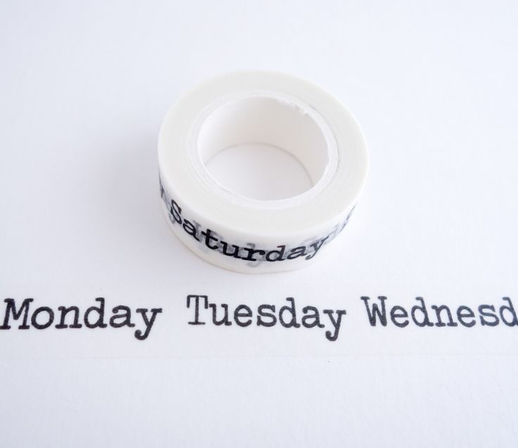 Single roll of washi masking tape with days of the week in a typewriter font pattern. Great for travel journals, scrapbooking, gift wrapping, decorating cards and envelopes and more! Add a little dash