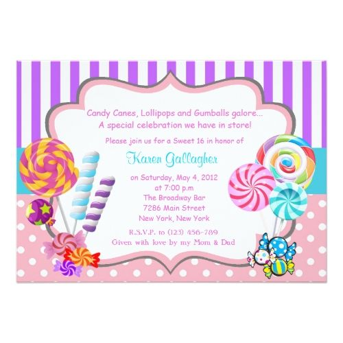 133 best candy birthday invitations images on pinterest birthday candy birthday party invitations candyland candy theme sweet 16 invitation stopboris Gallery