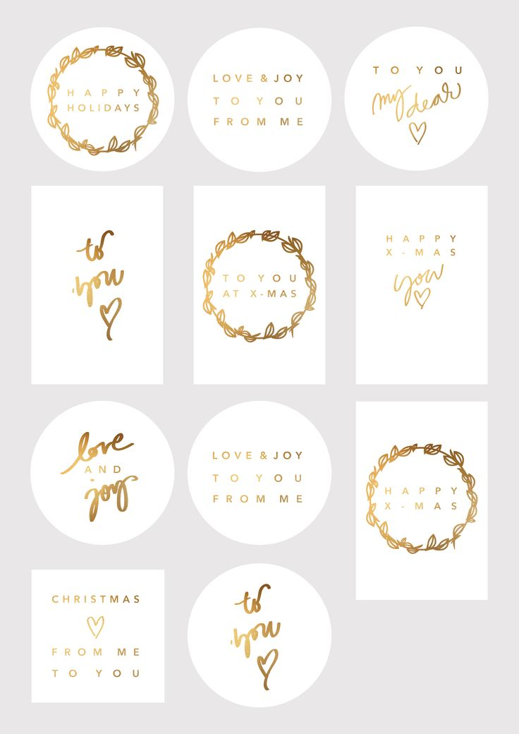 Free printable gift tags in gold foil