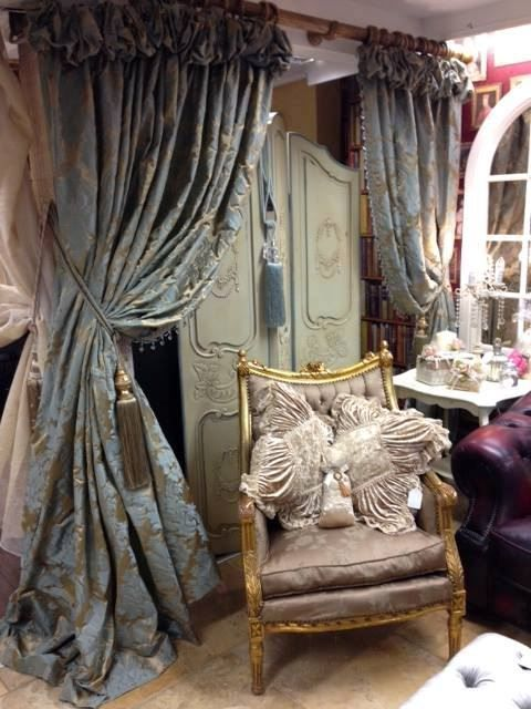 Captivating Opulent Curtain Designs By June Rayfus Interiors, Co. Meath, Ireland.  Ruched Top
