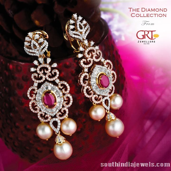 Diamond earrings desings from GRT jewellers. #diamonds