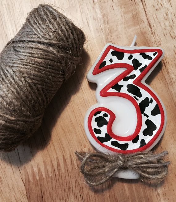 Cow print birthday number candle Wild West by MamasSpareTimeCrafts