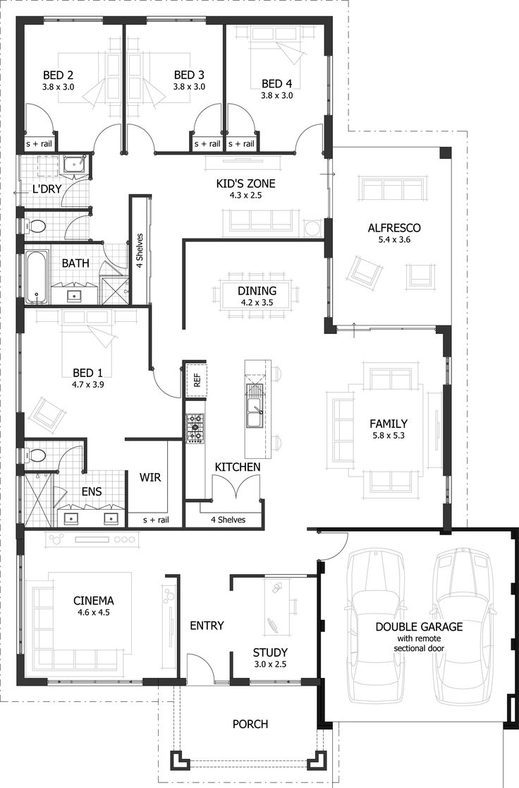 25 best ideas about 4 bedroom house plans on pinterest for Single story 4 bedroom modern house plans