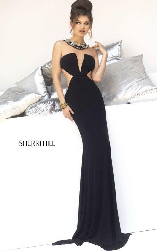 Black Sherri Hill 4329 Plunging Neckline Prom DressOutlet