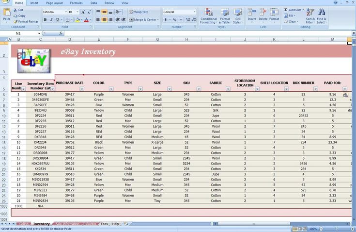 jewelry inventory spreadsheet template ebay store