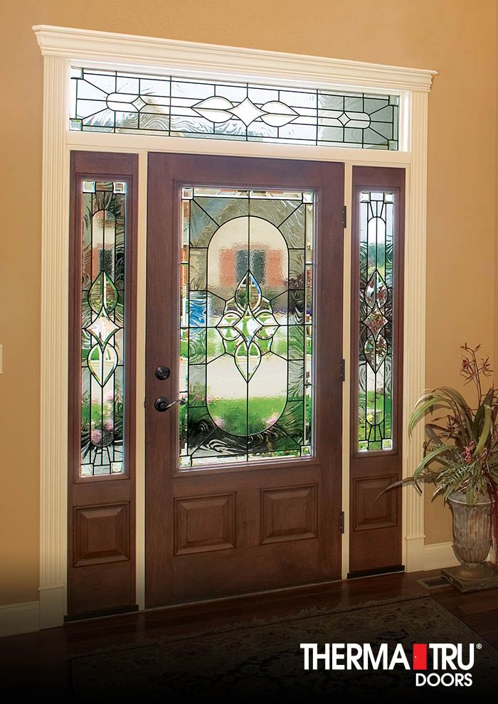 Therma tru classic craft mahogany collection fiberglass door with arcadia decorative glass for Therma tru exterior doors fiberglass