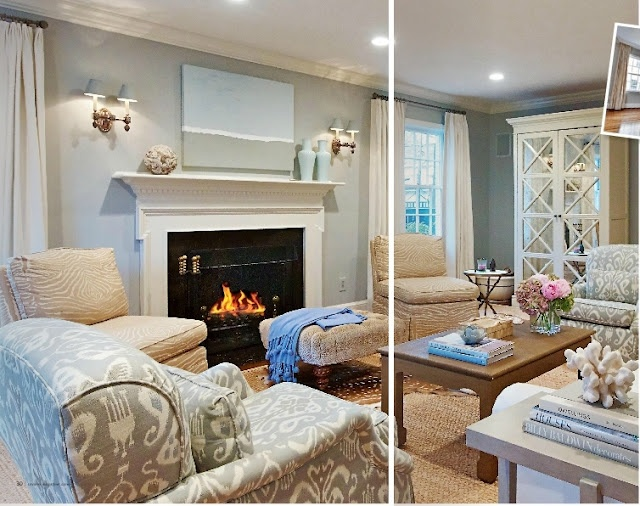beautiful! blues, creams, a touch of mirrored-glam- this is a perfect space