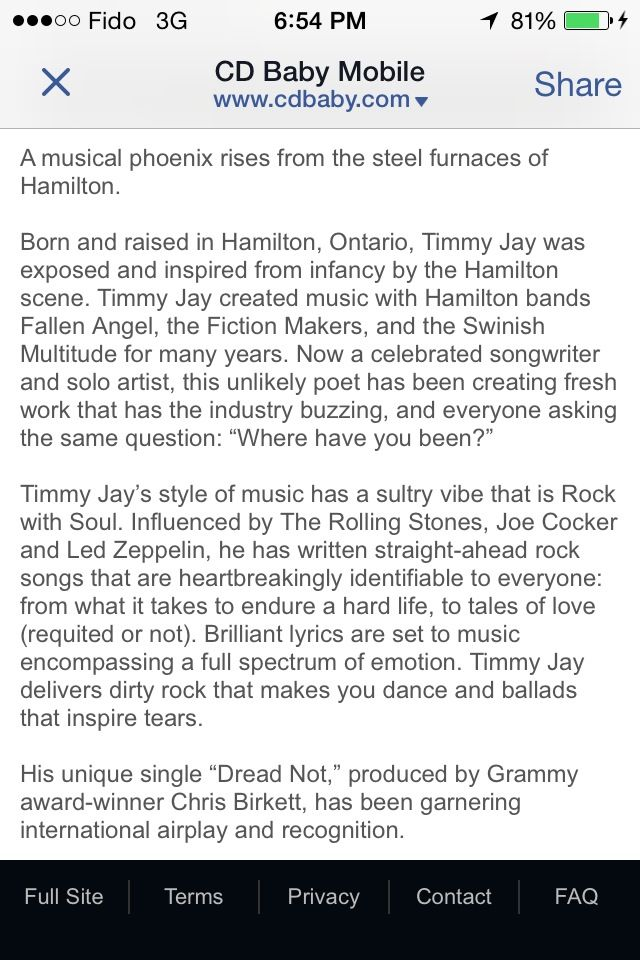 Screen shot of Timmy Jay's bio as written by Mr. Michael McIssac. Used by permission, thanks TJDN!  http://www.cdbaby.com/cd/timmyjay2