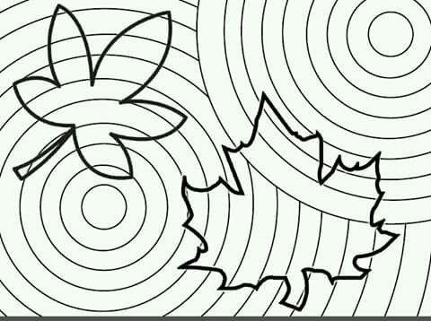 Dibujo arte circulos concentricos y otras líneas Herfst kan je kleuren